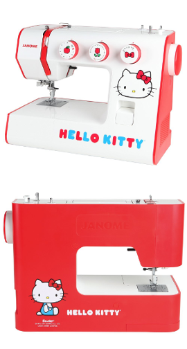 Front and Back of Cute Hello Kitty Sewing Machine
