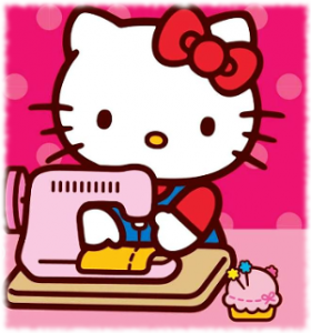 Hello Kitty using a sewing machine