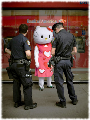 Picture of Hello Kitty getting arrested
