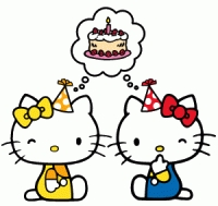 Hello Kitty and Mimmy celebrating with birthday cake